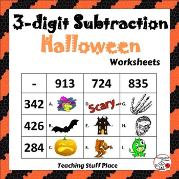 3-Digit HALLOWEEN Subtraction Worksheets ... MATH Core Grade 4