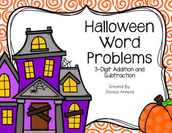 3-Digit Halloween Pumpkin Word Problems