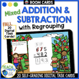 Fall Math | 3 Digit MIXED Addition & Subtraction with Regrouping | BOOM Cards