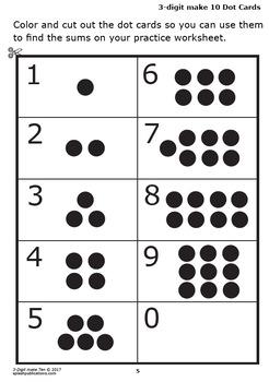 3-Digit Make 10 Addition Worksheets and Full Color Game