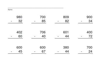 3 Digit Minus 2 Digit Across Zeros-PowerPoint Quiz - Matching Worksheet & Key!