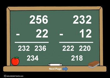 3 Digit Minus 2 Digit NO Regrouping-PowerPoint Quiz - Matching Worksheet & Key!