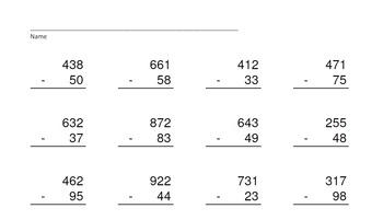 3 Digit Minus 2 Digit Subtr. PowerPoints+MatchingWkshts &Keys-BUNDLE of 4 PP's!