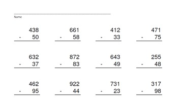 3 Digit Minus 2 Digit WITH Regrouping-PowerPointQuiz - Matching Worksheet & Key!