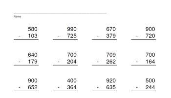3 Digit Minus 3 Digit Across Zeros-PowerPoint Quiz - Matching Worksheet & Key!