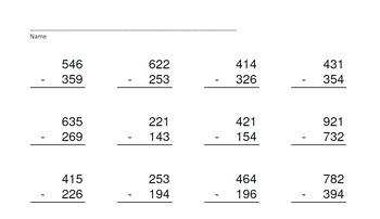 3 Digit Minus 3 Digit Subtr. PowerPoints+MatchingWkshts &Keys-BUNDLE of 4 PP's!