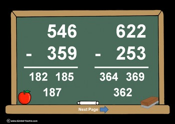 3 Digit Minus 3 Digit WITH Regrouping-PowerPointQuiz - Matching Worksheet & Key!