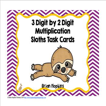 3 Digit Multiplication Sloth Task Cards