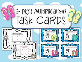 3- Digit Multiplication Task Cards. Math Center. Multiply