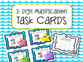 3 Digit Multiplication Task Cards. Multiply. Math Center. Review