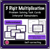 3 Digit Multiplication Differentiated Word Problem Task Cards + Exit Ticket