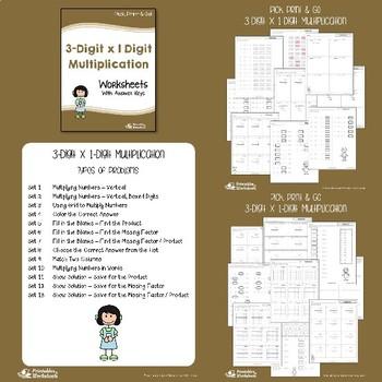 3 Digit Multiplication Worksheets with Answer Keys