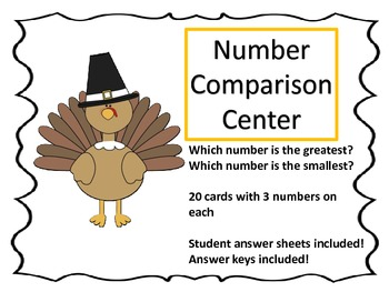 Number Comparison Center---Thanksgiving Theme
