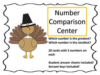 Number Comparison Center---Thanksgiving Theme