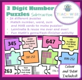 3-Digit Number Puzzles - Match number, word, MAB blocks and subtraction sum!