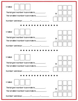 3 Digit Numbers: Number Sentence Dice Activity