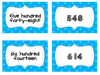 3 Digit Number Word/Number Matching