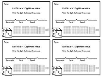 3 Digit Place Value Exit Tickets - 20 Math Assessments