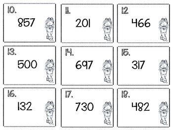 3 Digit Place Value: Hundreds Tens Ones Base Ten Scoot Game