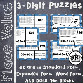 3 Digit Place Value Puzzles in Word Form, Expanded Form & Standard Form