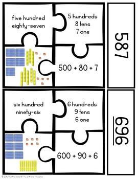 3-Digit Place Value Puzzle Pack!