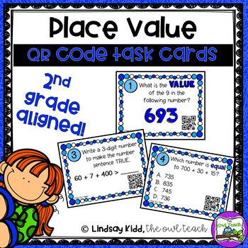 Second Grade Place Value:  QR Task Cards Set 2