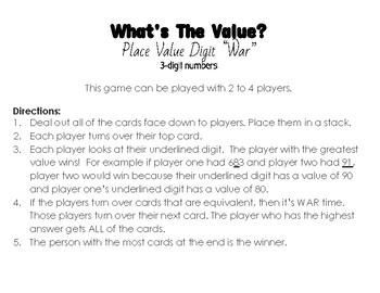 3 Digit Place Value War