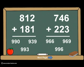 3 Digit Plus 3 Digit NO Regrouping-PowerPoint Quiz - Match