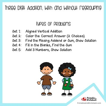 3 Digit Plus 3 Digit Addition Worksheets, Addition of Three Digit Numbers