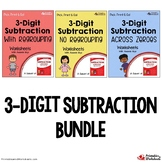 3-Digit Subtraction With Regrouping Activities, No Borrowing, Across Zeros