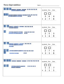 3 Digit Regrouping using Base Ten Blocks