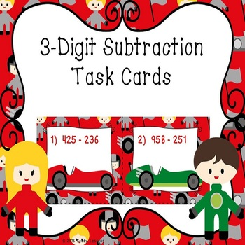 3 Digit Subtraction Task Cards With and Without Regrouping- 3.NBT.2