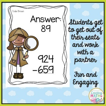 3 Digit Subtraction Scavenger Hunt Game
