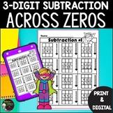 3-Digit Subtraction Across Zeros Worksheets | Digital and