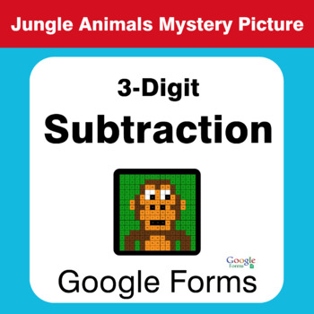 3-Digit Subtraction - Animals Mystery Picture - Google Forms
