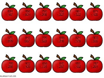3 Digit Subtraction Apple Trees