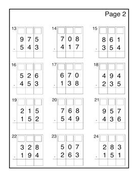 3-Digit Subtraction Assessment