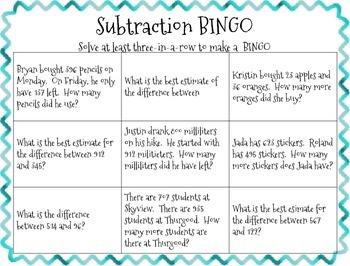 3-Digit Subtraction BINGO
