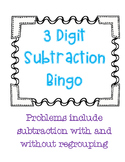 3 Digit Subtraction Bingo with Regrouping