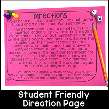 3 Digit Subtraction Board Game