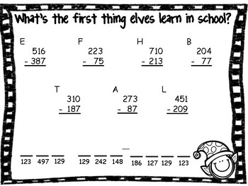 3 Digit Subtraction Christmas Riddles