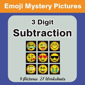 3-Digit Subtraction Color-By-Number EMOJI Mystery Pictures