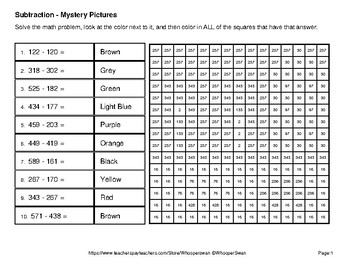 3-Digit Subtraction - Color-By-Number Mystery Pictures