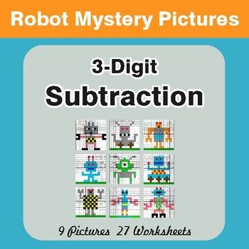 3-Digit Subtraction - Color-By-Number Math Mystery Pictures