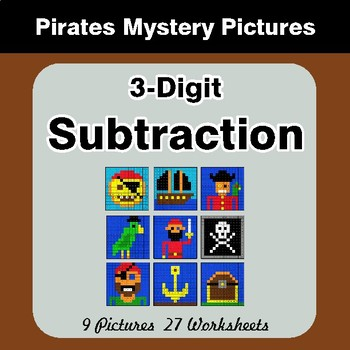 3-Digit Subtraction - Color By Number Math Mystery Pictures