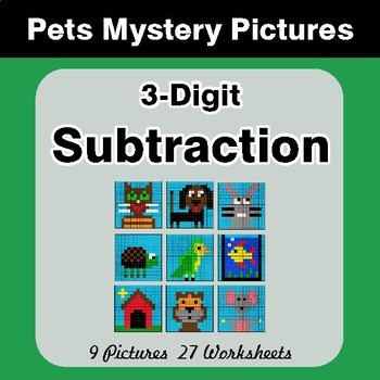 3-Digit Subtraction - Color-By-Number Math Mystery Pictures - Pets Theme