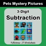 3-Digit Subtraction - Color-By-Number Mystery Pictures - P
