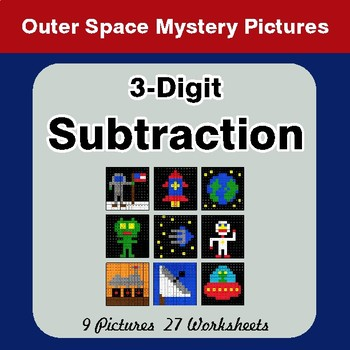3-Digit Subtraction - Color By Number Math Mystery Pictures - Space theme