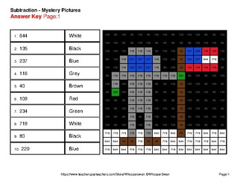 3-Digit Subtraction - Color-By-Number Mystery Pictures - Space theme