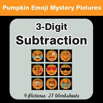 3-Digit Subtraction - Color-By-Number PUMPKIN EMOJI Math Mystery Pictures